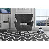 Mid-Century Modern Linen Fabric Accent Armchair with Shelter Style Living Room Chair (Dark Grey)