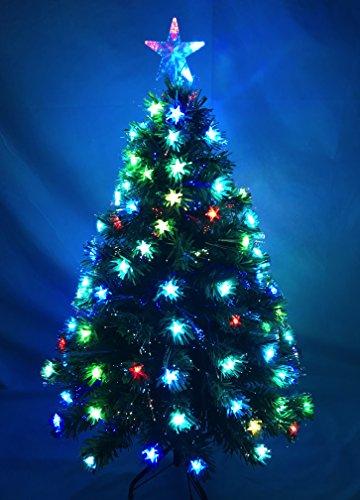 Christmas Concepts 48 Pulgadas (4FT) de Fibra óptica LED Verde árbol de Navidad con Cambio de Color LED Estrellas + Fibra...