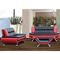 U.S. Livings Chelsea 2-pc Bonded Leather Sofa and Loveseat Set for Living Room (Black & Red)