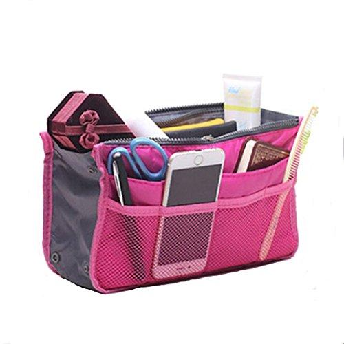 Shopper Joy Polyester Taffeta Taschenorganizer Handtaschen Organizer 12 Fächer Reisetasche Kulturtasche Tasche für Kosmetik Handy Schlüssel Passport Kreditkarten - Rosa