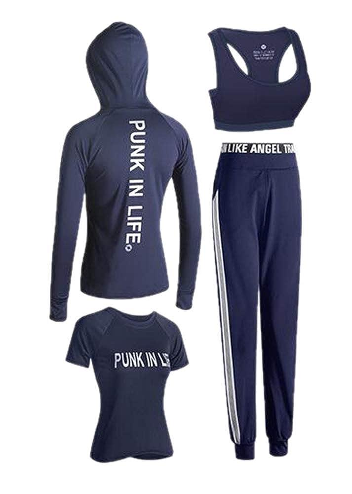 Domorebest Frauen Yoga Trainingsanzug Anzug, Laufbekleidung Strumpfhosen Gym Schnelltrocknend Zweiteiliger/Vierteiliger Anzug