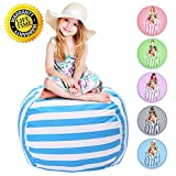 WEKAPO Stuffed Animal Storage Bean Bag Chair | 38'' Extra Large | 48'' Quality YKK Zipper | Premium Cotton Canvas by (Blue) …
