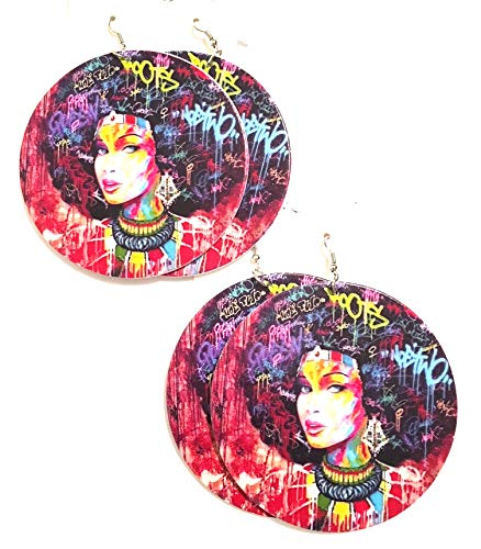 - African American Afro Women Girl Fashion Designer Earring Wood Style 2 pc
