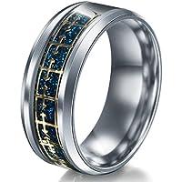 A.Yupha Cross Logo Christian Titanium Stainless Steel Band Ring Men Women Size 6-13#Gold+Blue (10)