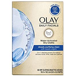 Olay Daily Facials, Deeply Purifying Clean, 5-in-1 Cleansing Wipes with Power of a Makeup Remover, Scrub, Toner, Mask…
