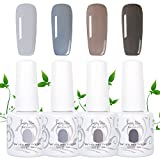 PrettyDiva Gel Nail Polish Set - 0.34OZ X4Colors Senior Gray Series, Soak Off UV LED Gel Polish Kit