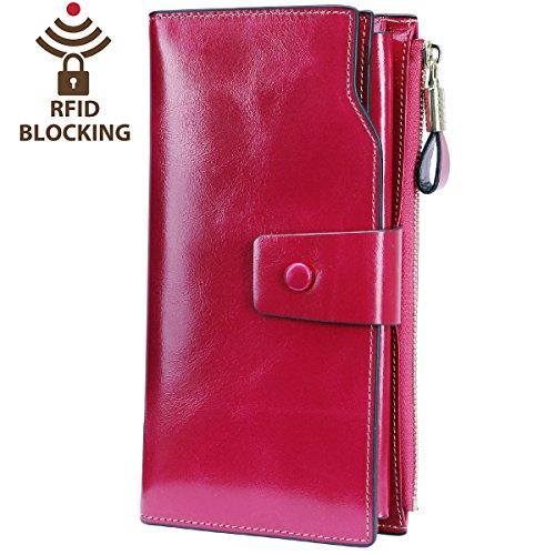 Itslife RFID Blocking Women's Large Capacity Luxury Wax Genuine Leather Cluth Wallet Card Holder Ladies Purse (Rose RFID ()