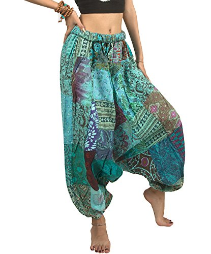 Tribe Azure 100% Cotton Casual Pants Patchwork Comfortable Baggy Yoga Hippie Boho Colorful (Medium, Serene (Handmade Hippie Patchwork)