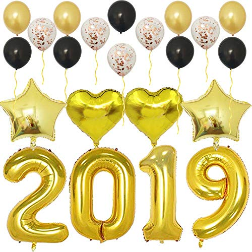 2019 Balloons Gold-Large Kit for Happy New Year Eve Party Supplies,Prom,Graduation Decorations-Foil Mylar Number Balloon|Rose Gold Confetti Latex Balloon -