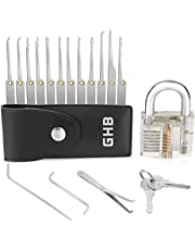 GHB Lock Pick Set Lockpick Locksmith Tools Professional Extractor Tools with 1 Transparent Exercise Padlocks and 2 keys