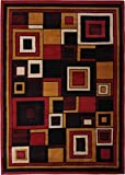 "Indoor Area Rug by Home Dynamix | Premium Collection Nikola Rug | Cost-Effective Stylish Decorative Area Rug | Contemporary Art Deco Squares with Border in Red, Brown, Gold | Style on a Budget 3'7"" x 5'2"""