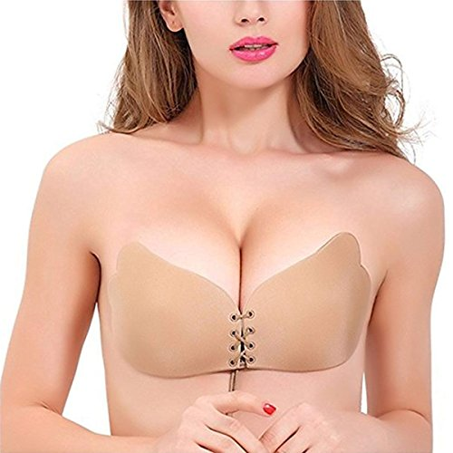 AUBANA Sticky Bra Backless Bra, Silicone Invisible Bra Strapless Adhesive Reusable Push-up Bras with Drawstring