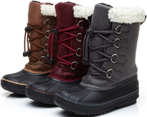 PPXID Boy's Girl's Waterproof Lace-Up Mid Calf Fur Inside Combat Boots Snow Boots
