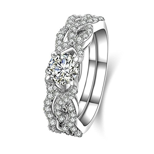 Aooaz Jewelry Wedding Ring Silver Material Weave Flower Round Silver Ring For Women Us Size 5