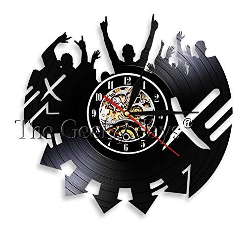 yltian Music Live Performance Art Wall Clock Rock Band Live Vinyl Record Wall Clock Concert Wall Decoration Rock Music Gift]()