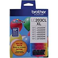 Brother Genuine High Yield Color Ink Cartridge, LC2033PKS, Replacement Color Ink Three Pack, Includes 1 Cartridge Each of Cyan, Magenta & Yellow, Page Yield Up To 550 Pages, Amazon Dash Replenishment Cartridge, LC203