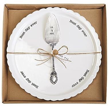 Mud Pie Wedding Cake Plate Set, White