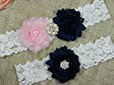 Pink and Navy Blue Garter, Wedding Garter Set, Bridal Garter Belt, Keepsake and Toss Stretch Lace Garters