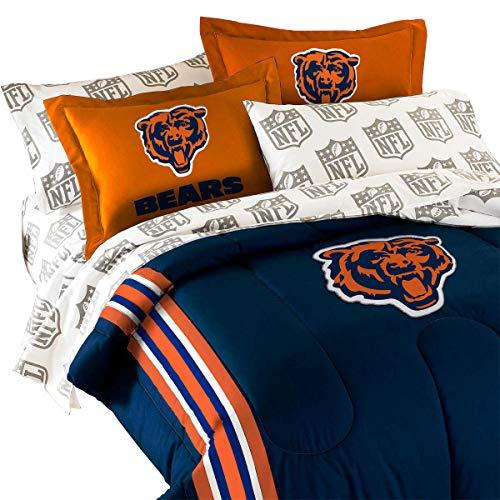 (Northwest 3pc NFL Chicago Bears Twin-Full Comforter Set Football Team Logo Comforter and Orange Pillow)