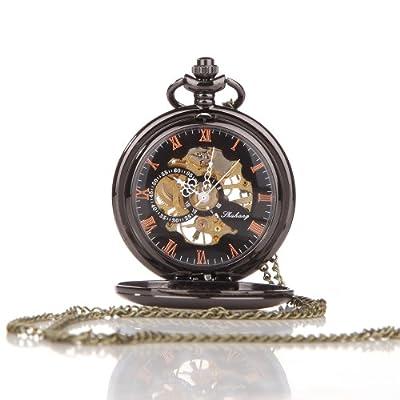 Alienwolf Pocket Watch Steampunk Pocket Watch with Cool Chain for Men Women Bronze by Alienwolf