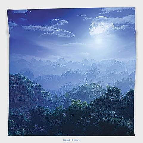 Vipsung Microfiber Ultra Soft Hand Towel-Fantasy House Decor Moonlight Covers Jungles Of Sri Lanka Hazy Rainforest Scenery Overhead View Decores Green Blue For Hotel Spa Beach Pool Bath