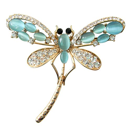 Navachi 18k Gold Plated Colorful Created-Opal Crystal Dragonfly Az8031 Brooch pins