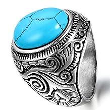 Flongo Men's Vintage Stainless Steel Ring Turquoise Silver Blue Biker Unique Band