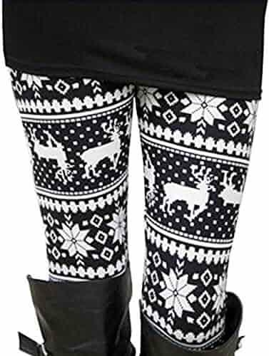 DawnRaid Womens Ultra Soft Brushed Christmas Leggings Pants Ankle Length,XS-3XL