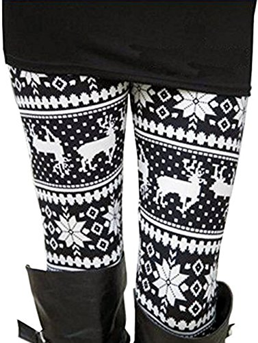Uaderize Womens Ultra Soft Brushed Christmas Leggings Pants Reindeer Black and White L
