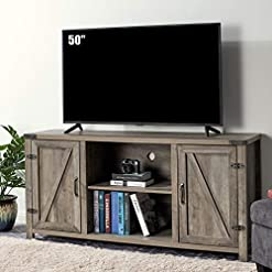 Farmhouse Living Room Furniture Amerlife TV Stand Rustic Farmhouse Entertainment Center, 28″ Tall Living Room Storage Barn Cabinet, Media Console with Doors&Storage Shelves for TVs Up to 65″, Rustic Gray farmhouse tv stands