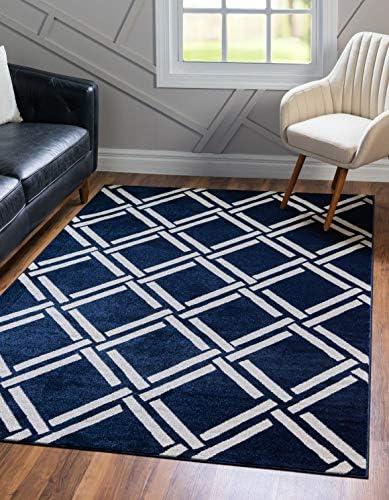 Unique Loom Trellis Collection Geometric Modern Navy Blue Area Rug 3 3 x 5 3