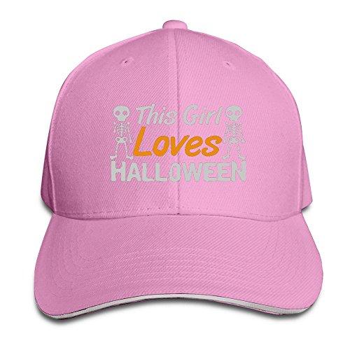 [Runy Custom This Girl Loves Halloween Adjustable Sanwich Hunting Peak Hat & Cap Pink] (Good Teenage Girl Halloween Costumes)