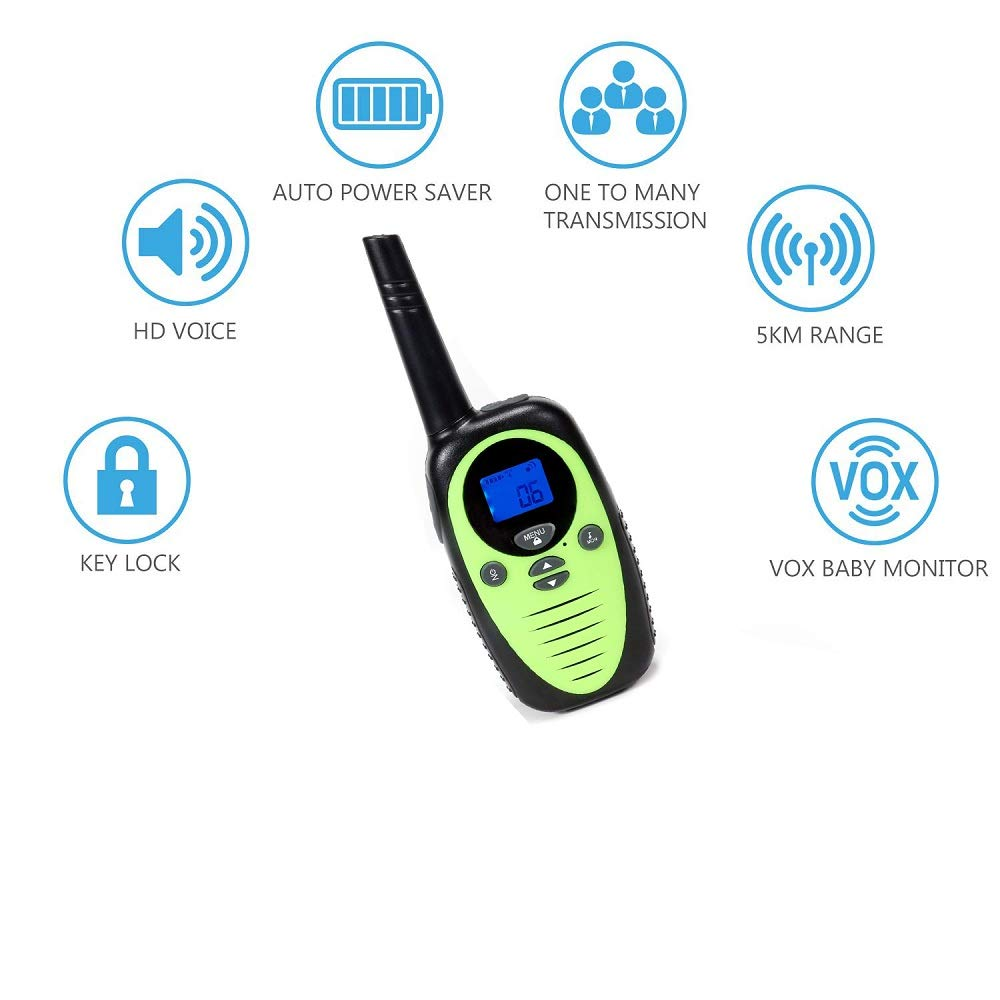 FREE TO FLY Kids Walkie Talkies Kid Toys 22 Channel FRS 2 Way Radios Party Toys for Camping/Hiking/Adventures 3.0 Miles Range Suit 6 UP Year Old Kids & Adults ( Three Packs with 9 Batteries ) by FREE TO FLY (Image #3)