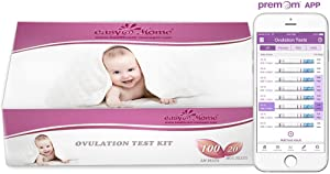 Easy@Home 100 Ovulation (LH) and 20 Pregnancy (HCG) Test Strips Kit, FSA Eligible, Powered by Premom Ovulation Predictor iOS and Android APP, 100 LH + 20 HCG