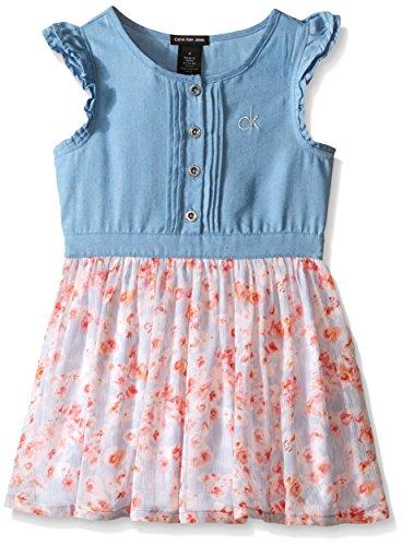Calvin Klein Little Girls' Denim Dress with Crinkle Georgette Skirt, Blue, 6