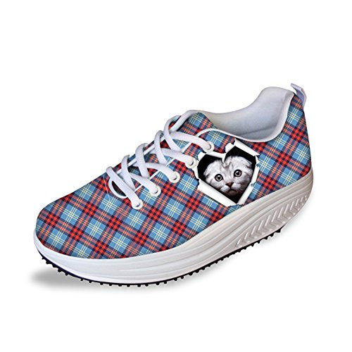Fitness Women Wedges Sneaker Animal 4 Classic Work Increasing Lattice Pattern Platform Out Cat Height Shoes CHAQLIN EwvqCcRE