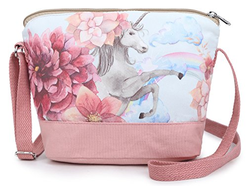 Purse Handbag Girls (Crest Design Whimsical Canvas Cross-body Shoulder Bag for Girls and Teenagers (Pink Unicorn))