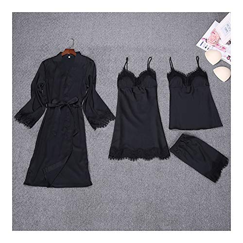 4 Women Satin Pieces Women Pads With Silk Home HAOLIEQUAN Chest Sleepwear Women Pyjamas Lounge Suit Pajamas Black Sleep Lace Nightwear wxXC7qpt