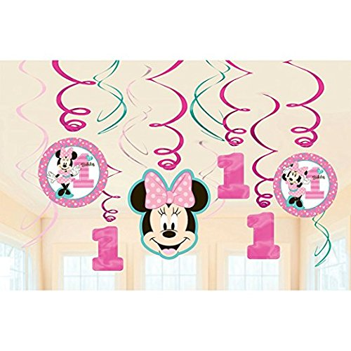 1st Birthday Minnie Mouse Swirl Decorations Party Supplies Minnie Fun to be One! (3 pack)