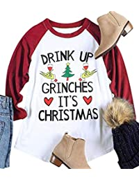NANYUAYA Womens Plus Size Drink UP Grinches It's Christmas Splicing T Shirt Tops