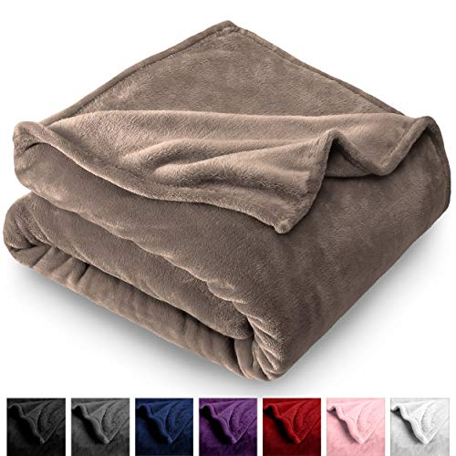 (Bare Home Microplush Velvet Fleece Blanket - Twin/Twin Extra Long - Ultra-Soft - Luxurious Fuzzy Fleece Fur - Cozy Lightweight - Easy Care - All Season Premium Bed Blanket (Twin/Twin XL, Taupe))