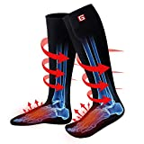 Unisex Electric Heated Socks Winter Warm Rechargeable Battery Powered Heat Sox Kit Men Women Thick Cotton Thermal Heating Footwarmer Sports Outdoor Climbing Hiking Skiing Heating Socks,3 Heat (Black)