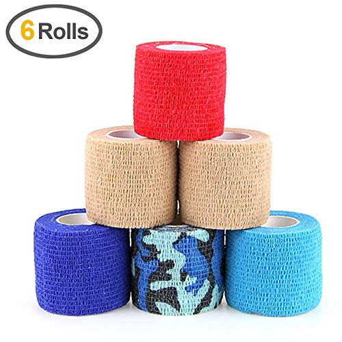 MUEUSS Self Adhesive Bandage Tape Vet Wrap Self Adherent Cohesive Bandages First Aid Wrap Waterproof Non-Woven Elastic Bandage for Animals Pet Sports Supply FDA Approved 6 Rolls, 2 inches x 5 Yards ()