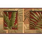 Wallpaper Border Tropical Green Palm Leaves on Tan with Dark Red