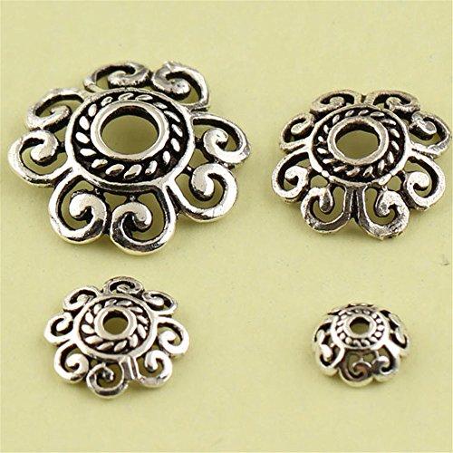 (MFMei Tibetan Style Sterling Silver Bead Caps, Hollow Flower Caps, 6-12mm (CY001) (10mm))