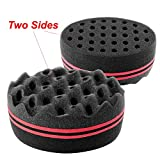 (US) Zodaca Double Side Two in One Magic Twist Hair Sponge Brush Afro Braid Style Dreads Locking Coils Wave Hair Curl Brush, Black/Red