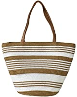Magid Striped Straw Mini Tote Bag, Natural/ White