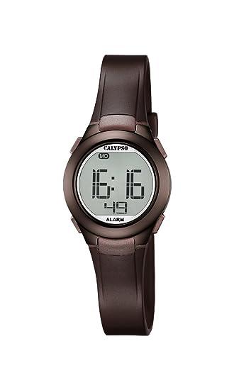 Calypso K5677/6 - Reloj Digital Unisex con Pantalla Digital LCD y Correa de plástico marrón: Amazon.es: Relojes