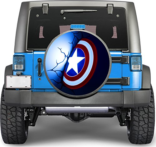Captain America Shield Sticker Full Color Spare Tire Cover Decal, Sticker Wheel Cover gc1695