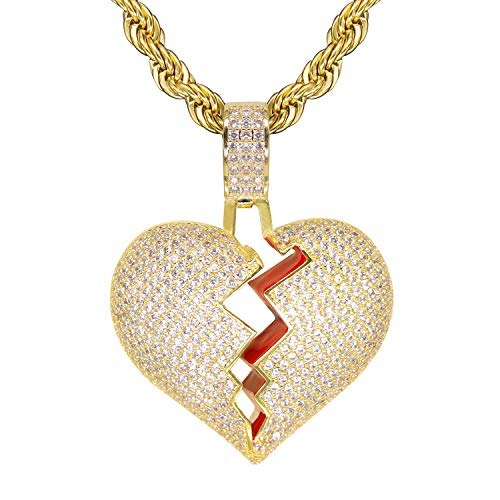 (TSANLY Gold Broken Heart Pendant Necklace Hip Hop CZ Fully Iced Out Bling CZ Diamond 24K White Gold Plated with 24